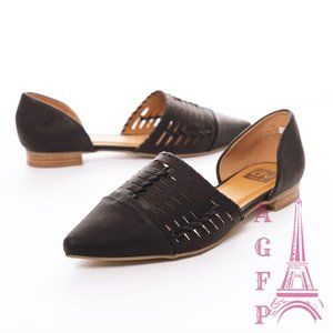 Dolce Vita cutout black Pointed toe d'Orsay flats